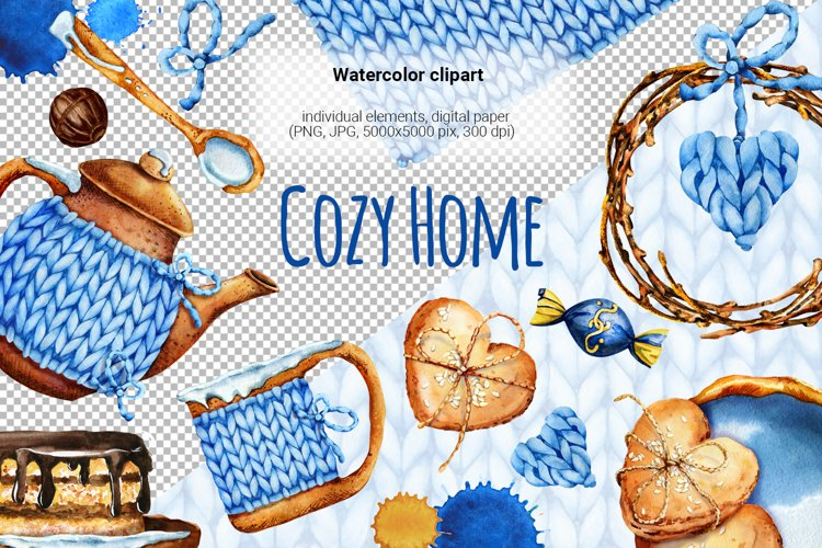 Cozy home, cozy tea, hygge watercolor clipart, knitted tea example image 1