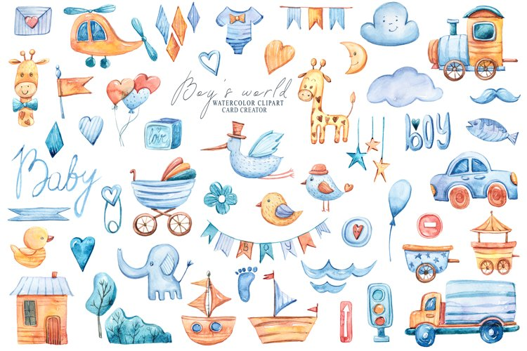 Watercolor cute baby boy clipart. Toy transport illustration