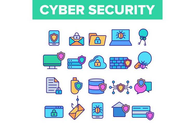 Cyber Security Vector Thin Line Icons Set example image 1