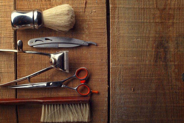Barber shop wooden backgrounds JPG set example 4