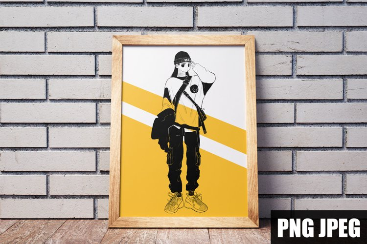 ILLUSTRATION OF AN ASIAN GIRL FOR PRINTS T-SHIRT DIGITAL example image 1