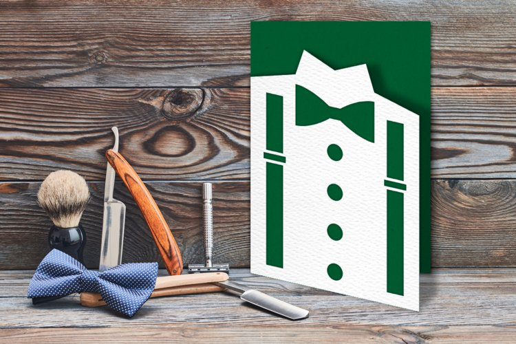 Bow Tie and Suspenders Papercut Card SVG