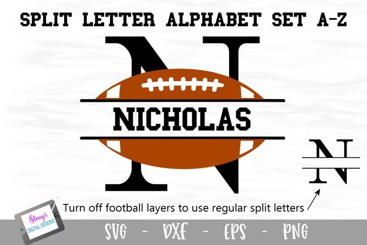 Split Letters A-Z - 26 Split Monogram Football SVG alphabet example image 1