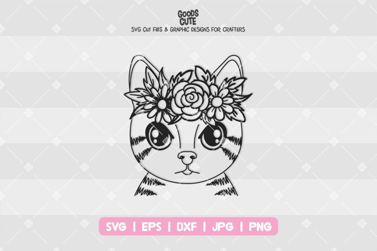Cat With Flower Crown - SVG example image 1