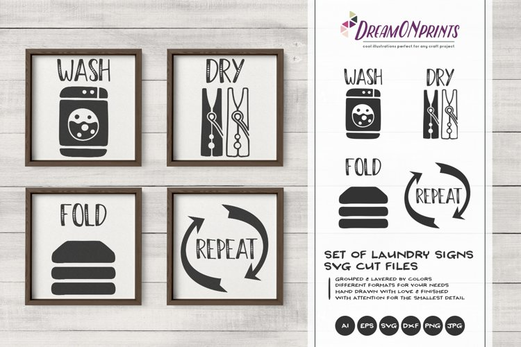 Set of 4 Laundry Signs SVG | Wash, Dry, Fold, Repeat example image 1