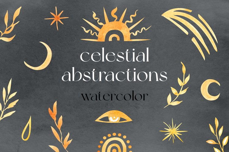 Celestial Abstractions Watercolor Clipart