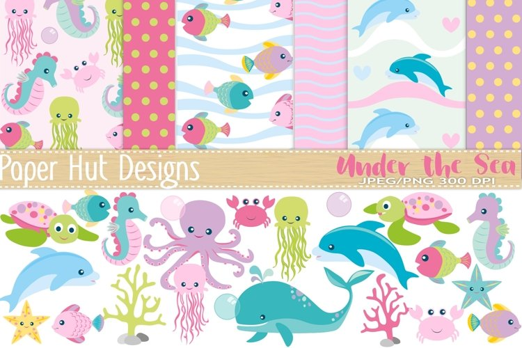 Girls Sea Animal Clipart and Digital Papers Set example image 1
