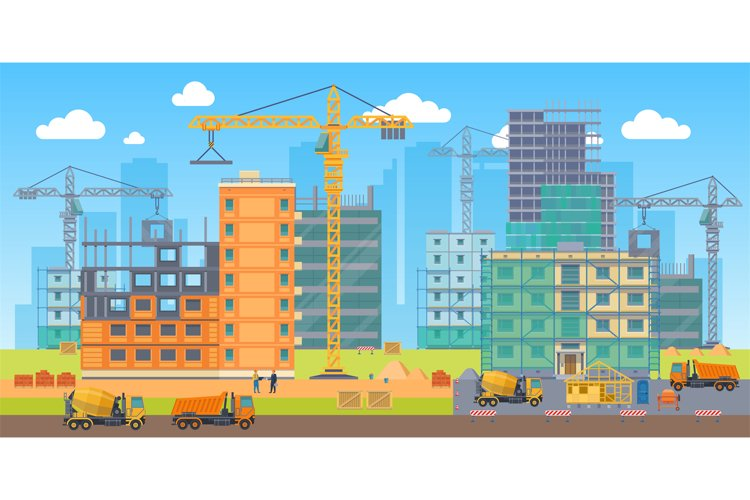 Building site. Construction work big area, special machines example image 1