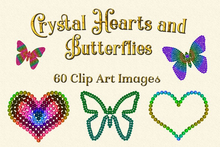 Crystal Hearts and Butterflies Clipart Designs example image 1