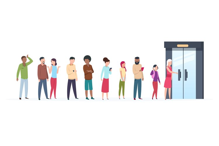 Open door queue. Trending people characters standing outside example image 1