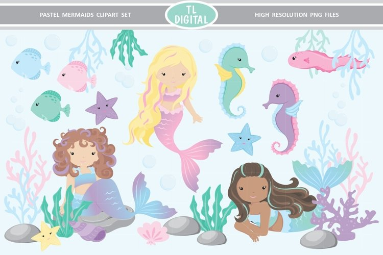 Pastel Mermaid Clipart Set 29 High Resolution PNG Graphics