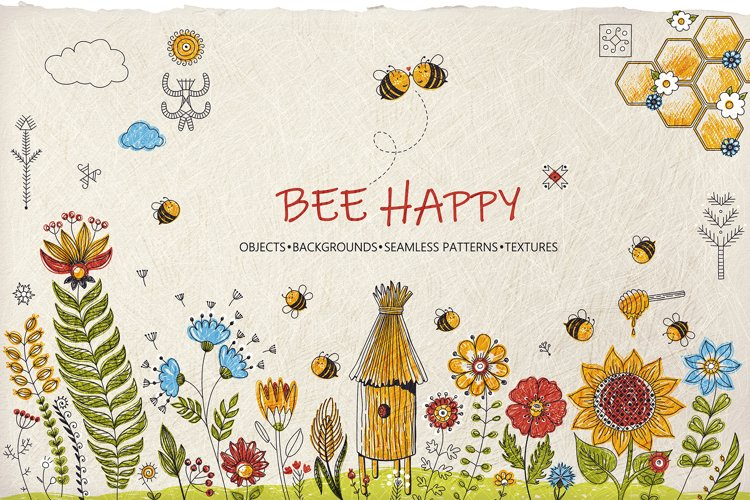 Honey Bee Vector Clipart Set example image 1