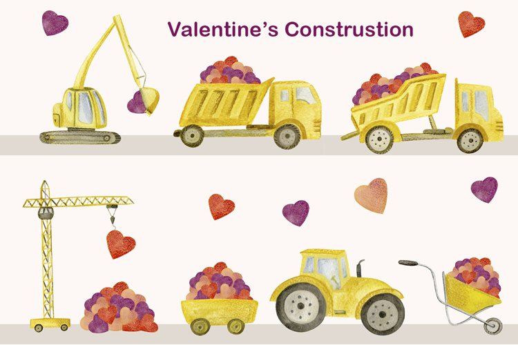 Watercolor Cute Construction Clipart, Valentines png example image 1