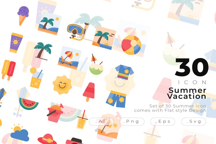 Set of 30 Summer icon come with flat design