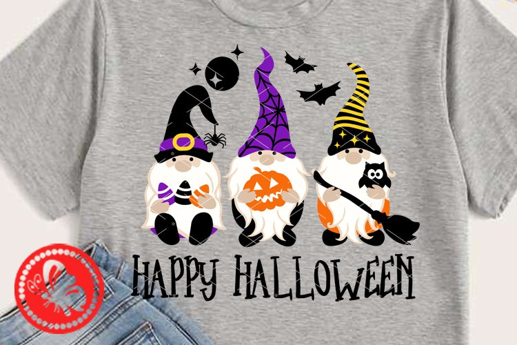 Gnomes svg Happy Halloween shirt Bat Spider web Witch broom example image 1