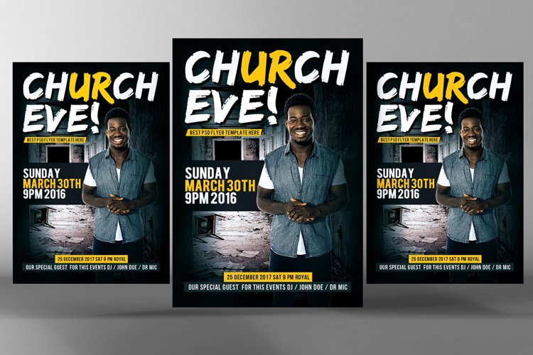 Sunday Services Church Flyer Psd example image 1