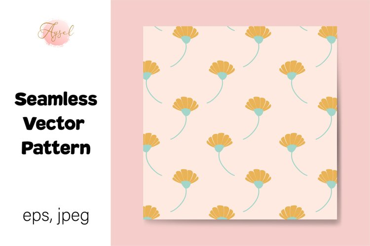 Daisy Flowers Digital Paper, Seamless Pattern example image 1