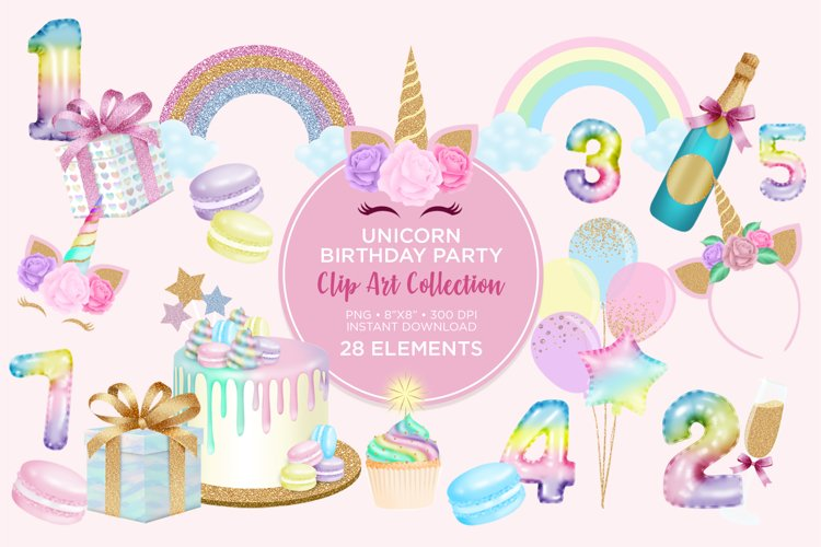 Unicorn Birthday Party Clip Art example image 1