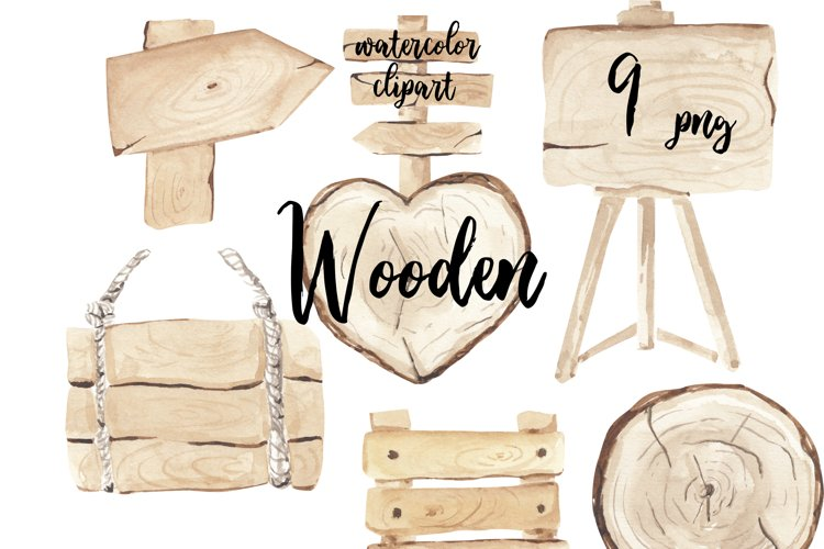 Wood clipart, watercolor wooden slices , wood arrows,