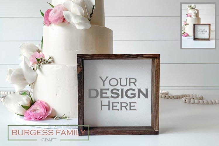 Mockup Wedding Cake Square Sign | JPEG example image 1