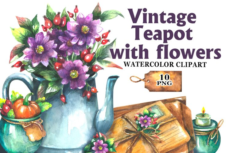 Vintage Teapot with flowers