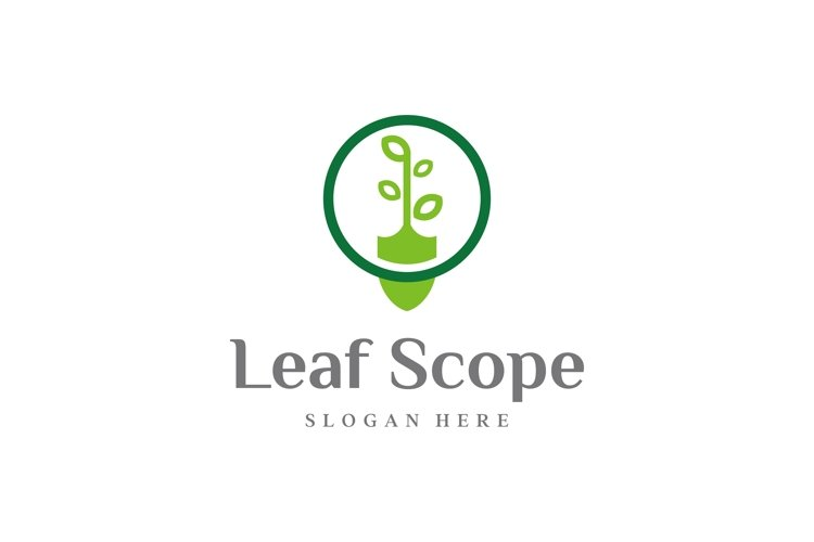 shovel and leaf logo design vector
