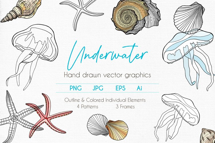 Underwater - Hand drawn vector clipart collection example image 1