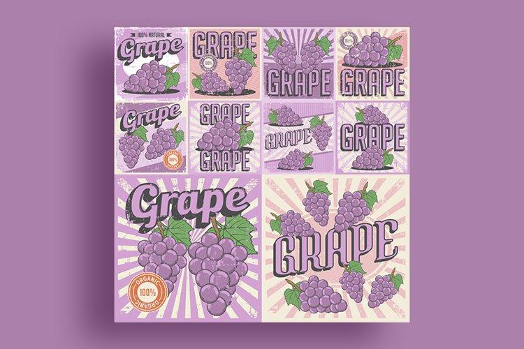 Grape Vintage Retro Signage Vector Set example image 1