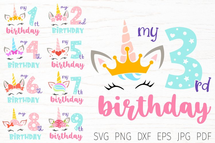 Unicorn birthday svg bundle, birthday numbers, birthday girl