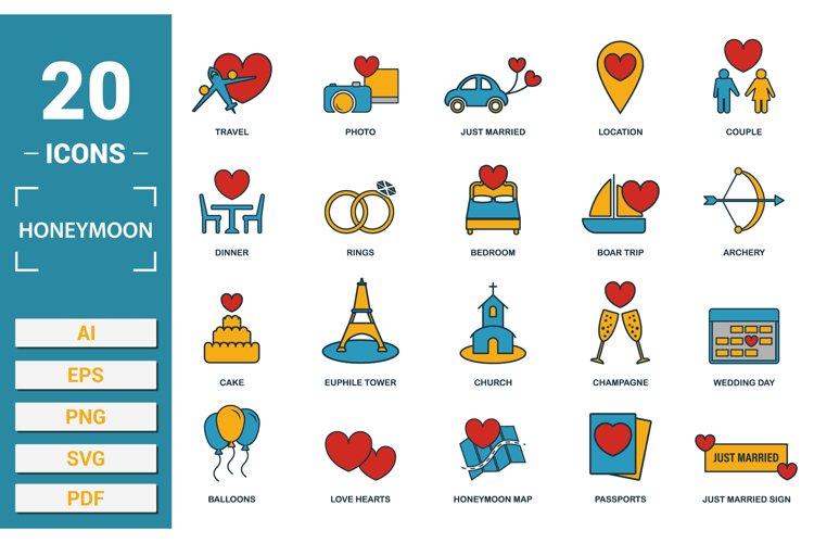 Honeymoon icon vector set in SVG, PNG, JPG, EPS, PDF, AI.