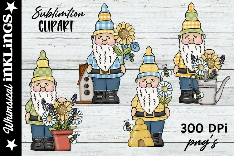 Forest Gnomes Love Bees-Sublimation Clipart example image 1