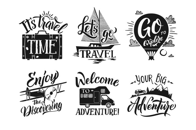 Monochrome travel labels set with hand writing words and let example image 1