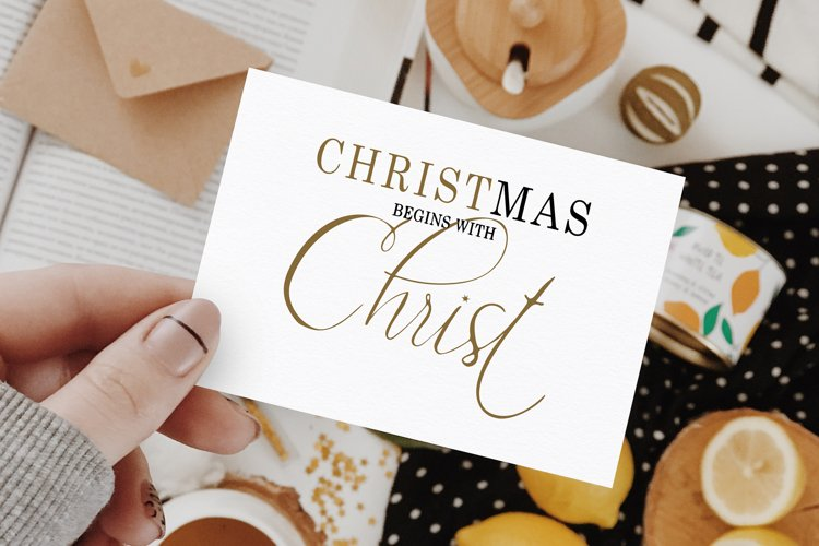 Christmas begins with Christ handlettering Christmas SVG example image 1