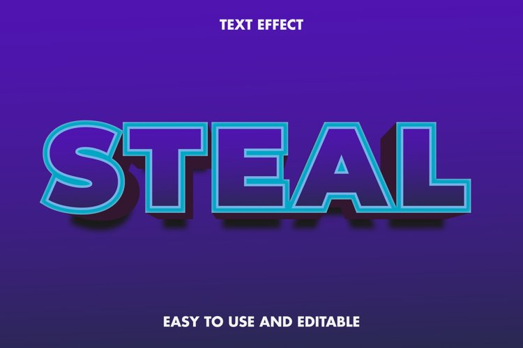 Steal text effect. easy to use and editable. premium vector example image 1