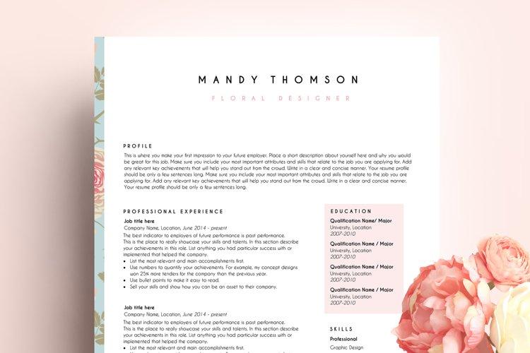 creative resume template word / floral feminine example image 1
