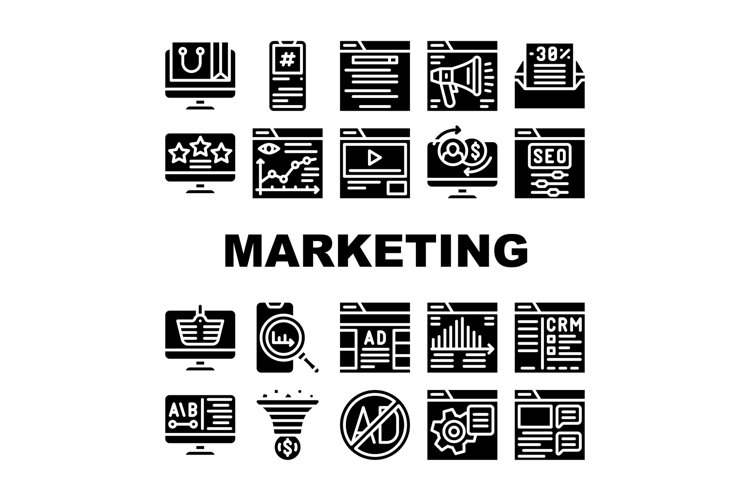 Digital Marketing Collection Icons Set Vector Illustrations example image 1