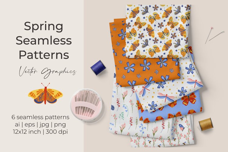 Spring vector seamless patterns with butterflies and flowers