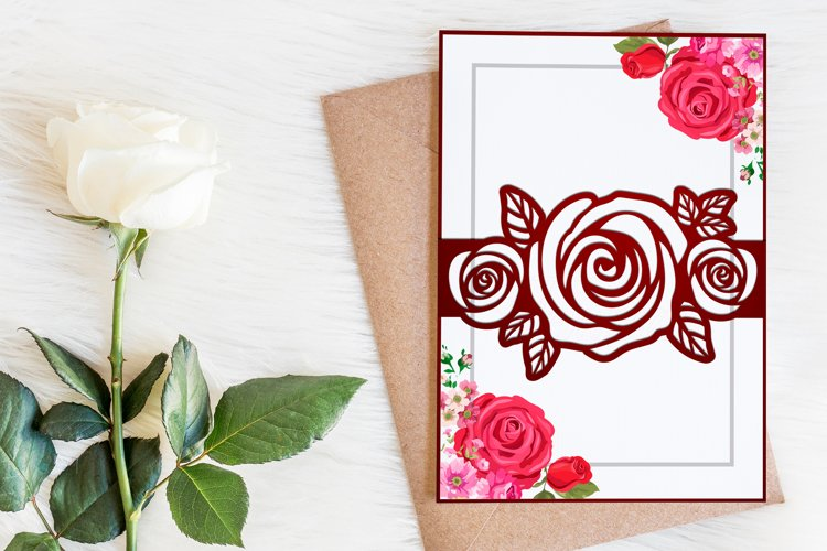 Belly band with roses template, Wedding invitation svg example image 1