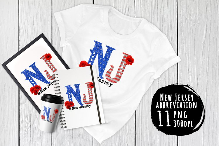 State abbreviation. USA sublimation. New Jersey example image 1