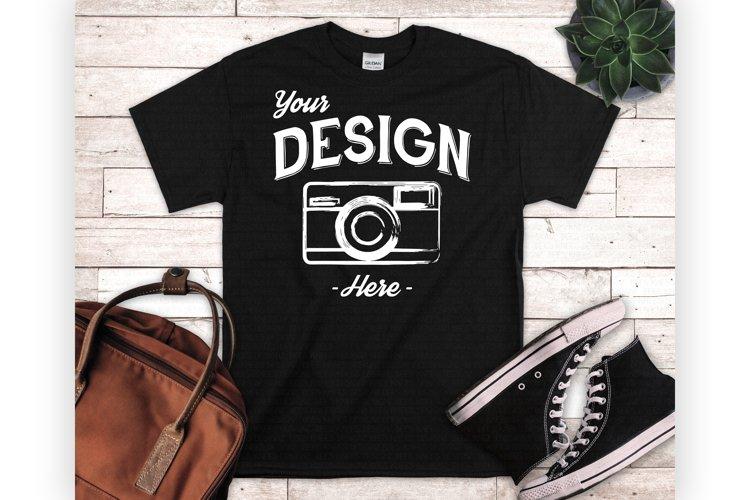 Black Tshirt Mockup Styled Flatlay Unisex T Shirt Display example image 1