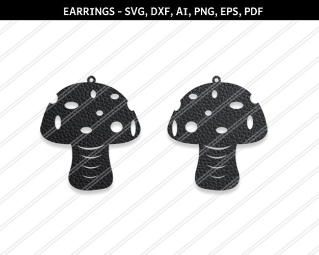 Mushroom earrings svg,Abstract earrings,Jewelry svg,Cricut example image 1