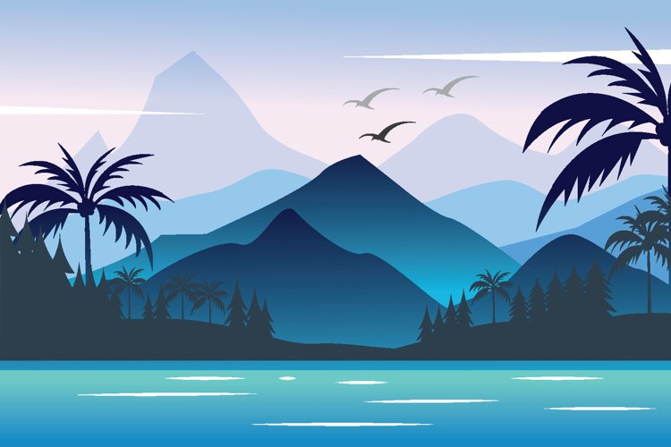 mountain and lake landscape vector illustration