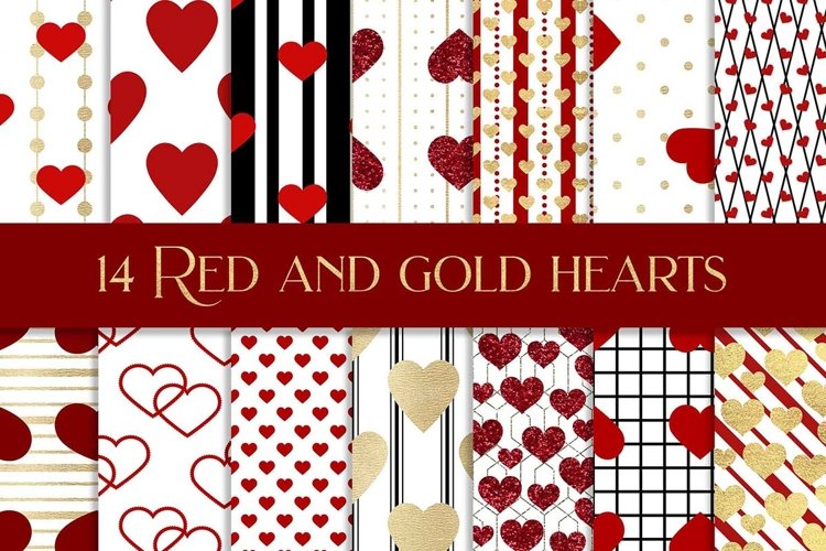 Red and gold hearts digital paper pattern