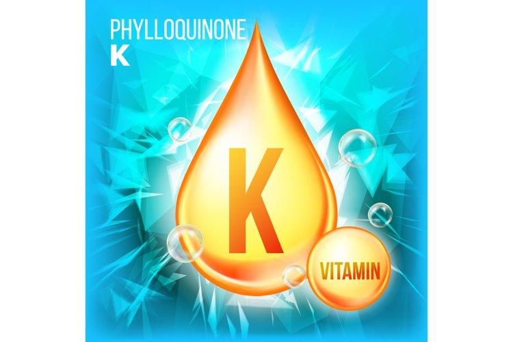 Vitamin K Phylloquinone Vector. Vitamin Gold Oil Drop Icon. example image 1