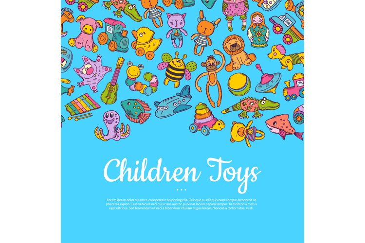 Vector hand drawn colored children or kid toys illustration example image 1
