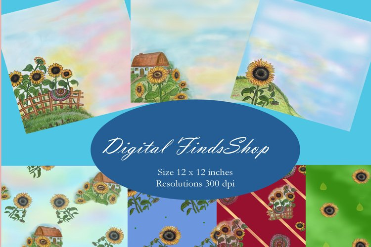 Sunflowers digital paper, set 7 pcs, rustic digital paper