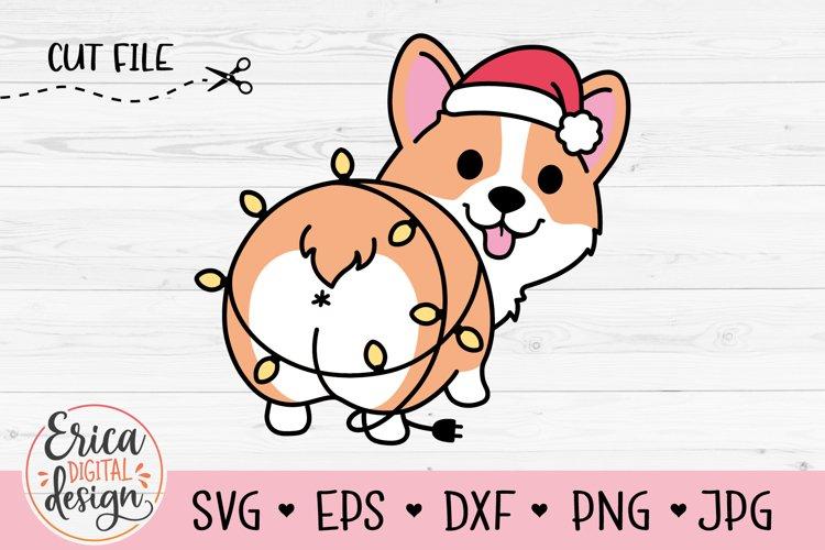 Christmas Corgi SVG cut file Cute Funny Dog Christmas Lights example image 1