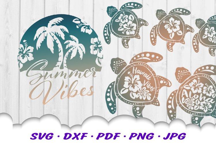 Summer Vibes Hibiscus Beach Turtle SVG Cut Files Bundle