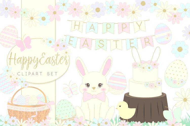 Easter Bunny and Eggs Clipart set
