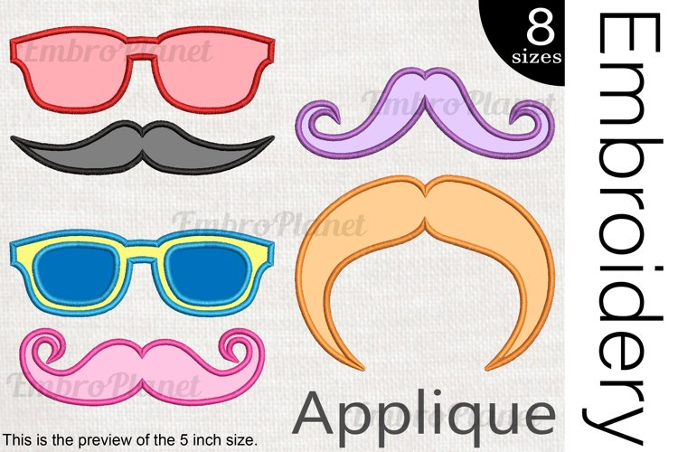 Applique Glasses And Mustaches- Embroidery Files - 1491e example image 1